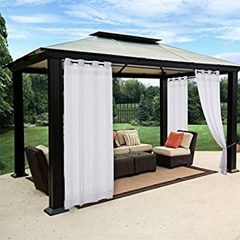 Amazoncom White Outdoor Curtain and Drape for Pergola NICETOWN