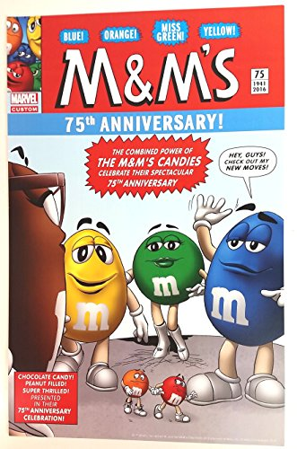 M&M's 75th Anniversary Marvel Poster 11x17 inches Comic Book mock up featuring Blue, Orange, Miss Green & Yellow
