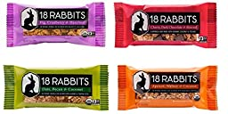 18 Rabbits Organic Granola Bar 4 Flavor Variety Pack, 1.6 oz Bars (Pack of 12)