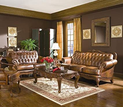Amazon.com: Victoria Classic Button Tufted Leather Sofa Set: Kitchen ...