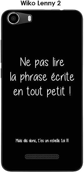 Coque Wiko Lenny 2 Design Citation Rebelle Texte Blanc Fond Noir ...