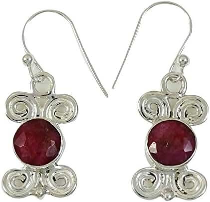 Banithani Ruby Semi Precious Stone 925 Sterling Silver Dangle Earring Jewellery Gift For Women