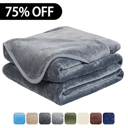 Luxury Fleece Super Soft Thermal Blanket Warm Fuzzy Microplush Lightweight Blankets for Bed Sofa, Seashell Series,King,90 by 108 Inches,Gray