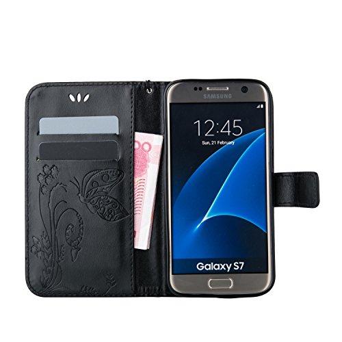 JIALUN-Personality teléfono shell Funda Galaxy Note 5 de Samsung Galaxy, Estuche retro de folio con caja de folletos y correa para la mano Funda protectora de Shell para Samsung Galaxy NOTA 5 Segurida Black