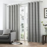 Tony's Textiles Burton Check Stripe Cotton Rich Eyelet Ring Top Fully Lined Curtains, Charcoal Grey, 90 x 54-Inch