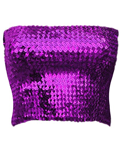 Alivila.Y Fashion Sparkling Sequins Stretch Party Tube Top A11-Purple -