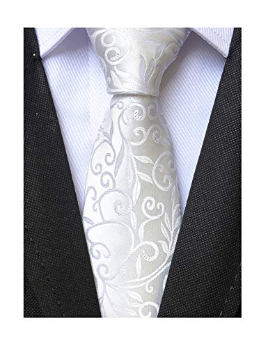 Mens Silk White Tie Floral Pattern 3.15