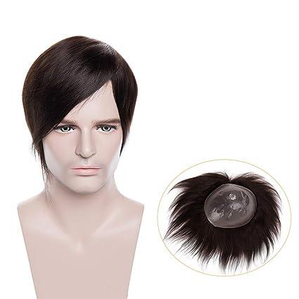 Pelucas Hombre Pelo Natural Prótesis Capilar 100% Remy Cabello Humano [Base de Poliuretano] 120% Densidad Peluquín Lisa Toupee 6