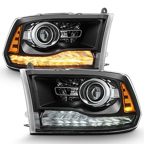 ACANII - For 2009-2018 Dodge Ram 1500 10-18 2500 3500 Upgrade Black Housing LED Turn DRL Projector Headlights Headlamps