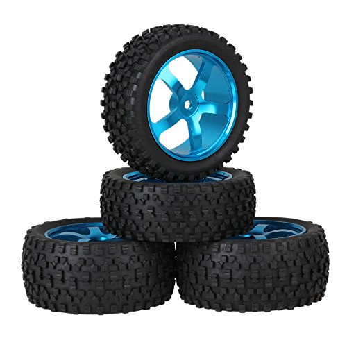 (Mxfans Blue Aluminium Alloy 5 Spoke Wheel Rims + Black H Type Rubber Tyres Tires RC 1:10 Off Road Car Buggy Upgrade Parts Pack of)