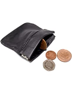 167fac07b425 Mens Ladies Real Leather Coin Pouch Snap Top Purse Strong Metal ...