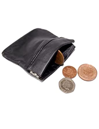 fast delivery distinctive style professional website MENS LADIES BLACK REAL LEATHER COIN POUCH PURSE WALLET