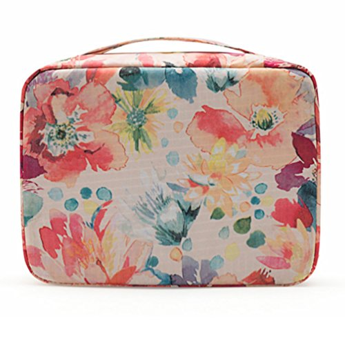 CalorMixs Handle Printed Large Travel Cosmetic Pouch Bag Makeup Organizer Case Holder For Teens (White Flower)