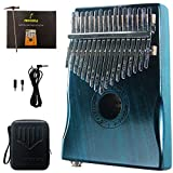 Moozica 17-Key EQ Kalimba, Electric Finger Thumb Piano Built-in Pickup With 6.35mm Audio Interface and Professional Kalimba Case (Mahogany-EQ)
