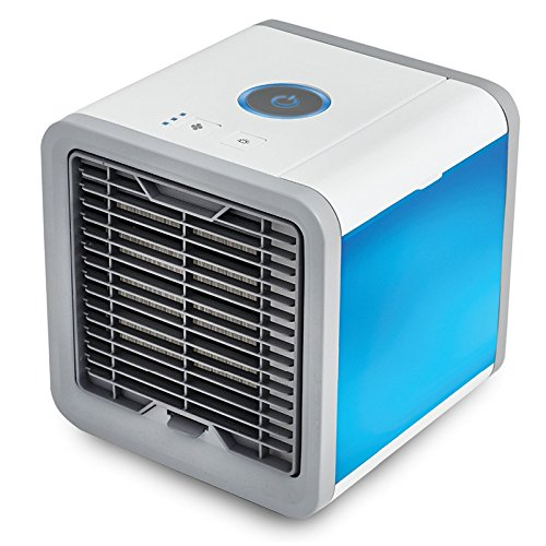 3-In-1 Personal Space Air Cooler, Humidifier & Purifier, Mini Portable Table USB Air Conditioner Misting Desktop Fan with 7 LED Colors for Home Bedroom Office Outdoor Camping by Liplop
