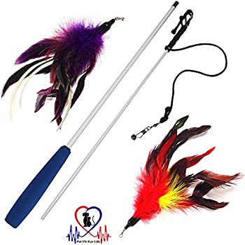 Pet Fit For Life Multi Feather Teaser and Exerciser For Cat and Kitten - Cat Toy Interactive Cat Wand