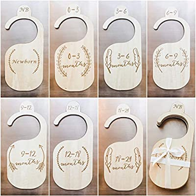Premium Wood Baby Closet Dividers by Northwell, Set of 7: Baby Closet Organizers, Baby Nursery Decor, Baby Clothes Organizers, Baby Shower Gift, Real Genuine Wood