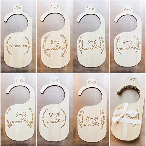 The LoLueMade Company Baby Clothes Organizers Set of 7: Baby Closet Organizers Baby Shower Gift Premium Wood Baby Closet Dividers Baby Animals Baby Nursery Decor
