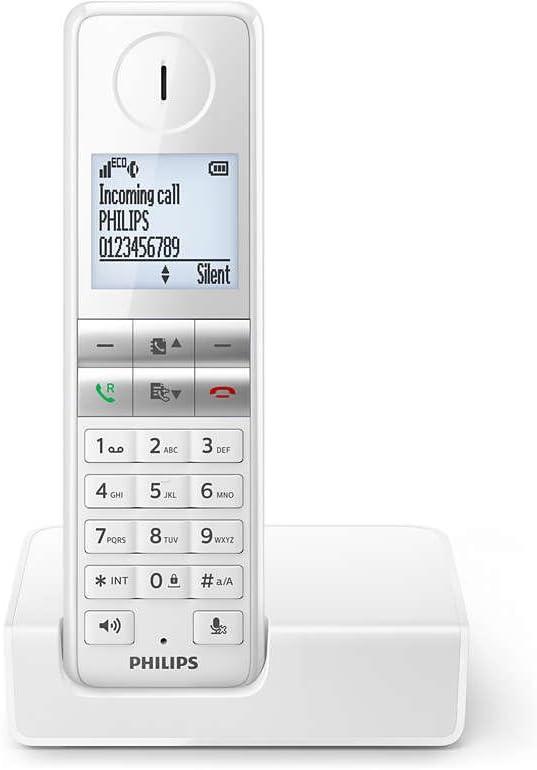 Philips D4601W/38 - Teléfono (Teléfono DECT, Terminal inalámbrico, Altavoz, 50 entradas, Servicios de Mensajes Cortos (SMS), Blanco): Amazon.es: Electrónica