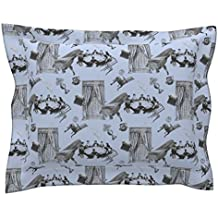 Roostery Spooky Euro Flanged Pillow Sham Poltergeist by Louisehenderson Natural Cotton Sateen made by