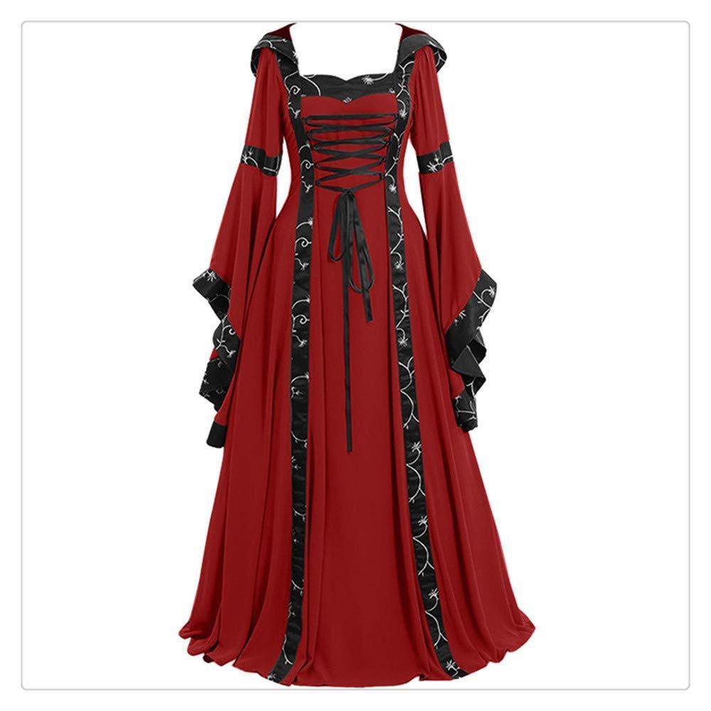 Yuwegr Women Vintage Celtic Medieval Floor-Length Renaissance Gothic Cosplay Dress