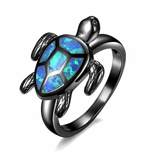 MGIE Blue Fire Opal Women Men Fashion Jewelry Gemstone Black Gold Plated Tortoise Ring ()