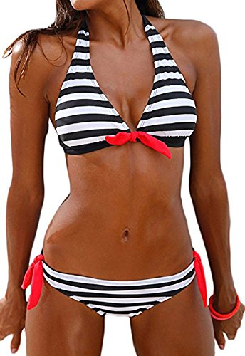 f9acd31df35 QingLemon Women's Bikini Halter Black Stripe Two Pieces Swimsuit Lovely  Swimwear (M, Black)
