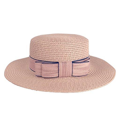 CHIC DIARY Women Bowknot Straw Hat Summer Fedoras Wide Brim Sun Hat (Pink) -
