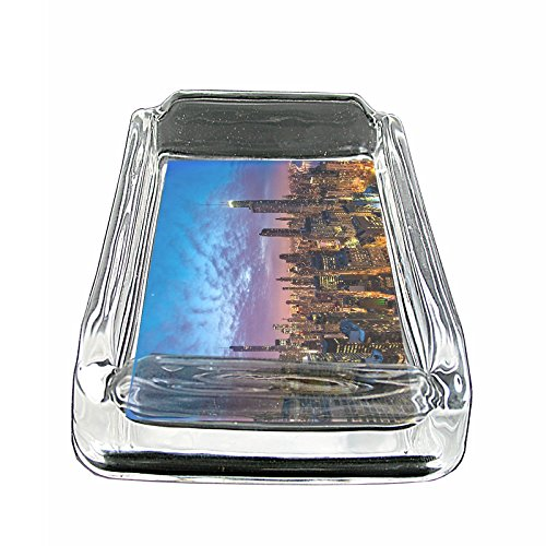 Chicago City Skyline S7 Glass Square Ashtray 4''x3'' Sturdy Cigarette Smoking Retro by JS & Caren (Image #2)