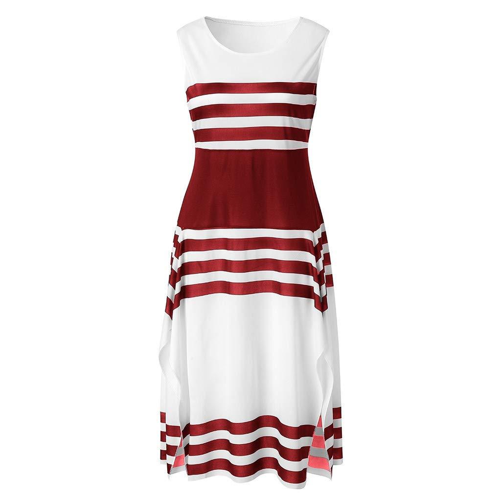 Vamoro Women Stripe Sleeveless Casual Dress Women Round Neck Vestido Midi Party Dresses Womens Mini Loose Summer Dress Basic Tops Casual Dress