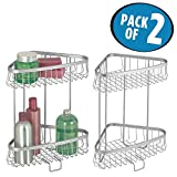 mDesign Free Standing Two-Tier Bathroom Corner Storage Shelves for Towels, Tissues and Washcloths - Pack of 2, Silver
