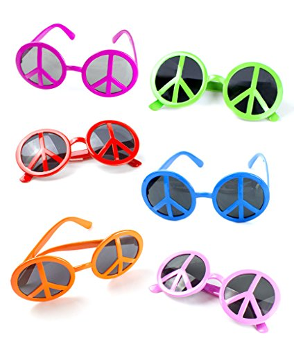 Fun Central (AT865) Peace Sign Sunglasses - Assorted 12ct