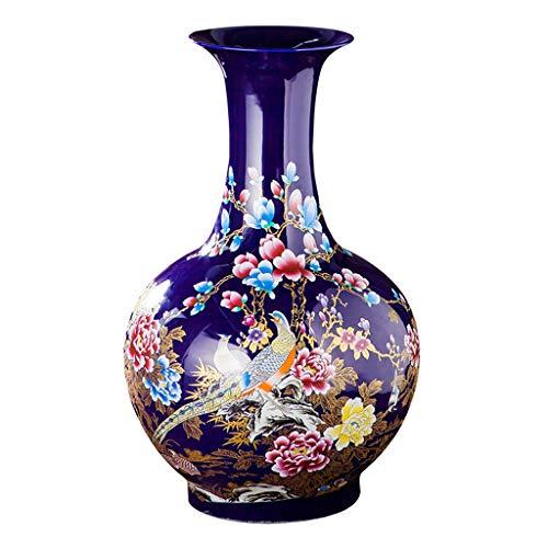 Vase DIOE Blue Drama Peony Bottle, China Jingdezhen, Porcelain, Floor Flower Arrangement, Modern Chinese Art, Decal