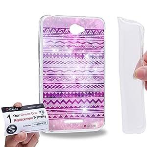 Case88 [Sony Xperia E4 / E4 Dual] Gel TPU Carcasa/Funda & Tarjeta de garantía - Art Aztec Design Galaxy Overlay Purple Mix