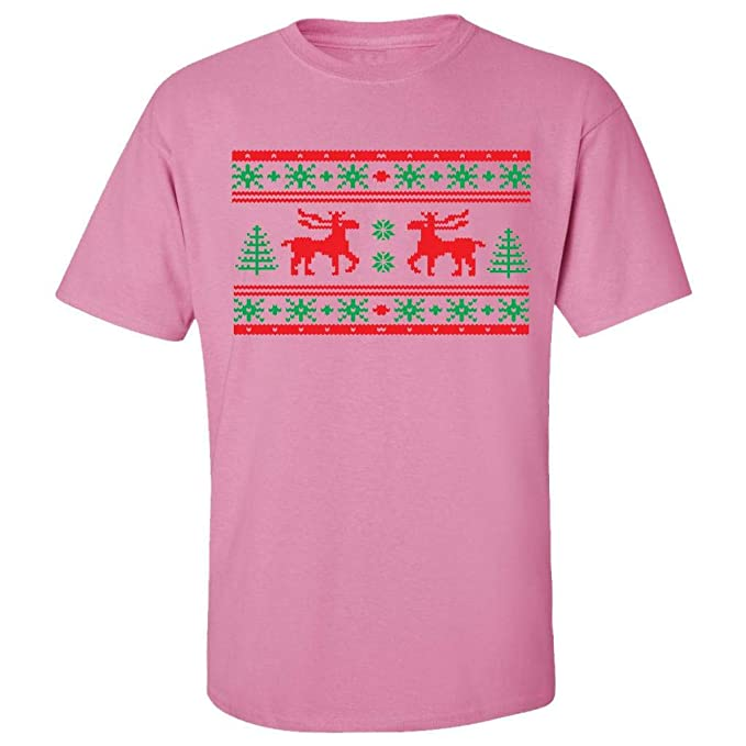 festive threads ugly christmas sweater moose design adult t shirt pink - Pink Ugly Christmas Sweater