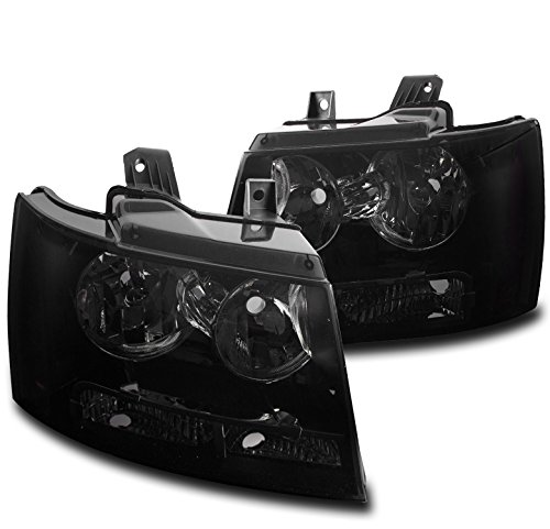 (ZMAUTOPARTS Chevy Suburban / Tahoe / Avalanche Crystal Style Headlights Black/Smoke)