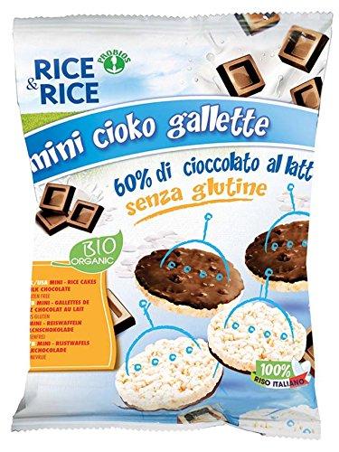 Probios Rice&Rice Mini Galletas de Arroz con Chocolate con Leche - Paquete de 10 x 60
