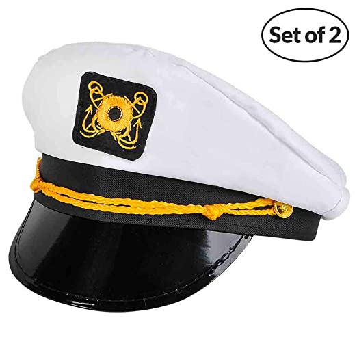 5f712781ffbb0 Amazon.com  Bedwina Yacht Captain Hat - (Pack of 2) Adult Cruise Ship  Nautical Admiral Sailor Navy Cap  Clothing