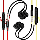CATTREE Sport Headphones, In Ear Noise Isolating Sweatproof Running Headphones Earphones with Microphone Wired Stereo Workout Earbuds for iPod iPhone iPad MP3 Tablet PC Smartphones (Yellow&Red)