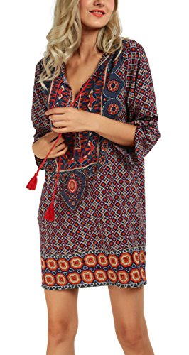 - Women Bohemian Neck Tie Vintage Printed Ethnic Style Summer Shift Dress (Small, Pattern 5-Orange)