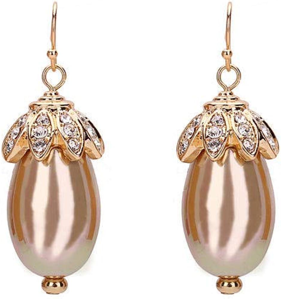 Cyjershi Pendientes, Noble Aretes De Perlas Grandes Con Diamantes, Piedras Preciosas, Aretes De Diosa, Linternas Pequeñas, Regalos