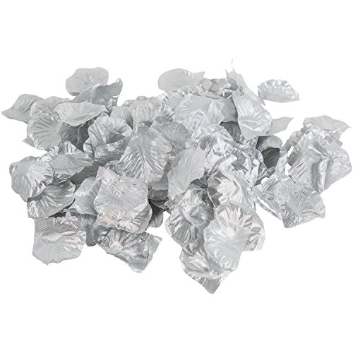 Metallic Silver Silk Flower Artificial Rose petals for Wedding Aisle, Party Favor & Table, Vase, Home Decoration by Royal Imports, 1000 PCS (Vases Where Get Cheap To)