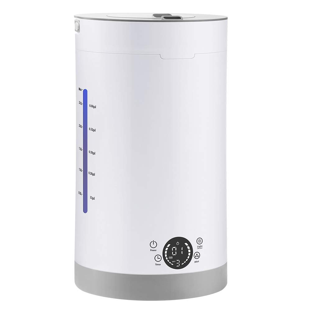 Orange Tech Top Fill Cool Mist Humidifier, Whisper-Quiet 2.8L Humidifiers, Premium Humidifying Unit with Double 360° Rotation Mist Outlets, 3 Mist Modes, 16.5-93 Hours Working Time