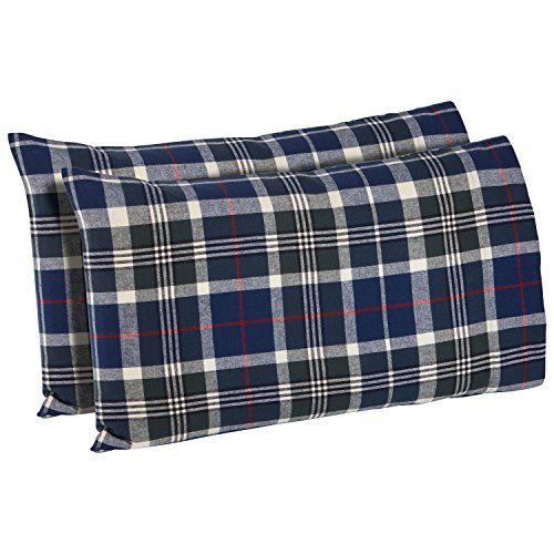(Stone & Beam Rustic Plaid Flannel Pillowcase Set, Standard, Blue and Green)