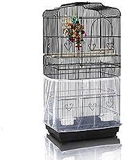 ASOCEA Bardzo duża klatka dla ptaków łapacz nasion ochraniacz uniwersalny pokrowiec klatka dla ptaków nylonowa siatka do papugi papugi makaw Lovebird afrykański szary - biały (nie zawiera klatki na ptaki)