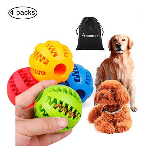 (Amamcy 4 PCS Dog Cat Ball Toys Healthy Chew Toy Durable Rubber Tooth Cleaning Ball Pet Toothbrush IQ Treat Ball for Playing/Chewing/Training)