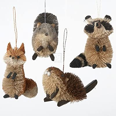 Kurt Adler Buri Woodland Animal Ornaments, Set of 8
