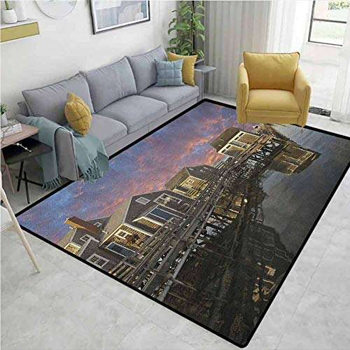 Pet Rug United States Sunset Over Nantucket Massachusetts Dramatic Sky Clouds Pond Houses Children Bedroom Rugs Coral Blue Sepia