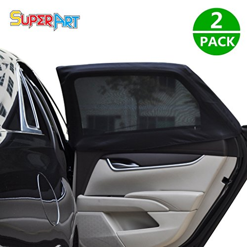 Car Side Window Baby Sun Shade Premium Breathable Mesh Sun Shield Protect Baby Pet from Sun UV Rays Universal Car Rear Window Sun Shade Curtains Fit Cars SUV (Pack of 2)