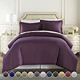 Purple King Duvet Cover Set Hotel Luxury 3pc Duvet Cover Set-1500 Thread Count Egyptian Quality Ultra Silky Soft Premium Bedding Collection-King Size Eggplant